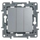 672413 - Выключатель трехклавишный Legrand Etika Plus (алюминий)