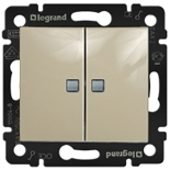 774113 - Выключатель двухклавишный Легранд Валена, c 2-мя индикаторами (слоновая кость)