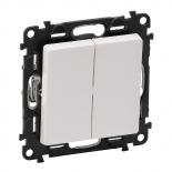752018 + 755020 - Выключатель кнопочный двухклавишный Legrand Valena Life (белый)