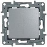 672412 - Выключатель (переключатель) двухклавишный Legrand Etika Plus (алюминий)