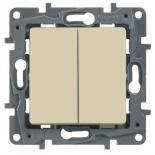672312 - Выключатель (переключатель) двухклавишный Легранд Этика Плюс (слоновая кость)