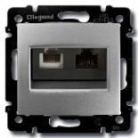 770280 - Розетка TF + RJ45 (Ethernet) Legrand Valena (алюминий)