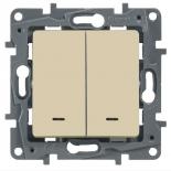 672316 - Выключатель (переключатель) двухклавишный с подсветкой Легранд Этика Плюс (слоновая кость)