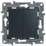 672612 - Выключатель (переключатель) двухклавишный Legrand Etika Plus (антрацит)