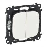752005 + 755025 - Выключатель двухклавишный простой, автоматические клеммы Legrand Valena Allure (Белый)