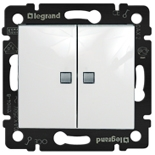 774428 - Выключатель двухклавишный Legrand Valena, c подсветкой (белый)